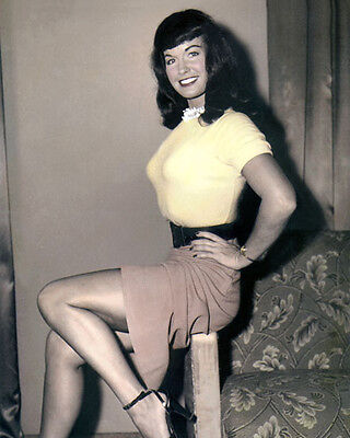 """BETTIE PAGE FETISH MODEL QUEEN OF THE PINUPS 8x10"""" HAND COLOR TINTED PHOTOGRAPH"""
