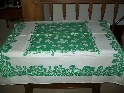 Vintage Tablecloth Flowers Green & White