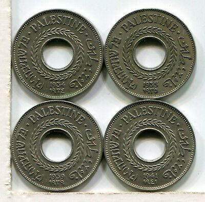 Palestine 5 Mils - 1934, 1935, 1939 And 1941 (4 Coins)