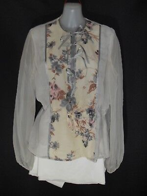 1970's Vintage Long Sleeved Chiffon Top with Floral Panel & Ribbons.