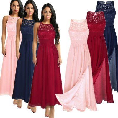 Women Lace Formal Wedding Bridesmaid Evening Party Prom Gown Long Cocktail Dress