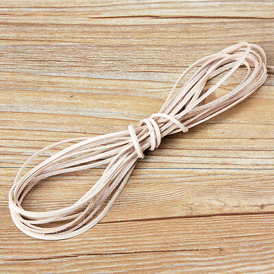 10X Veg -tan Leather Rope Flat Cord Lace Thong String Bracelet Jewellery 2mm 3mm