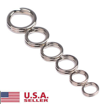 100pcs Flat Stainless Steel Fishing Split Rings For Lures Hooks Connector Tools