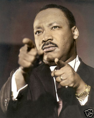 "MARTIN LUTHER KING JR AFRICAN AMERICAN LEADER 8x10"" HAND COLOR TINTED PHOTO"