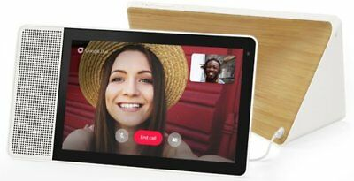 """NEW Lenovo 10"""" Smart Display with Google Home Assistant White Front/Bamboo Back"""