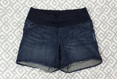 Womens Liz Lange Denim Maternity Shorts Stretchy Under Belly Panel Size S Small