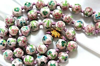 Rare Exceptional Art Deco Chinese Pink Cloisonne Hand Knotted  Necklace Ng3