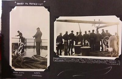 Vintage 1930's Photo of US Navy Men Burial Buried at Sea Funeral on Ship NAMES