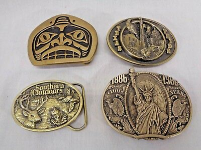 Lot Of 4 Vintage Belt Buckles Statue of Liberty Texas Pride Southern Outdoors