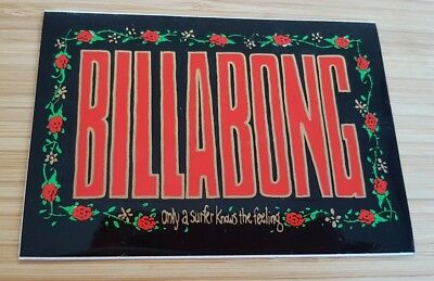 Vintage '90s~BILLABONG~Sticker~Red & Gold Print on Black Floral Border~11.5x8cm