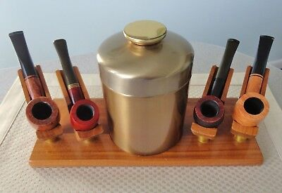 Vintage Dunhill wooden four pipe holder rack stand w/ brass humidor tobacco jar