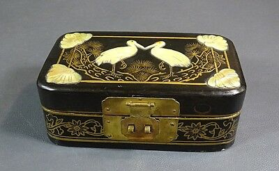 Antique Chinese Black Lacquer Gild Mother of Pearl MOP Storks Jewelry Vanity Box