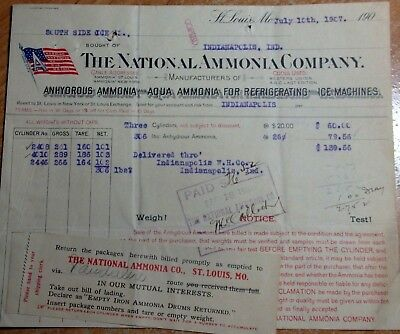 1907 Letterhead Billhead The National Ammonia Company St Louis Mo