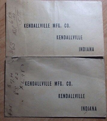 Lot Of 2 1912 Letterhead Envelopes From The Kendallville Mfg Company Indiana