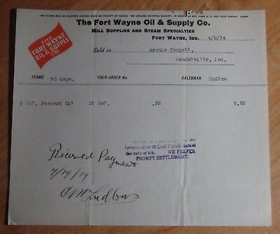 1914 Billhead Letterhead Fort Wayne Oil & Supply Company Fort Wayne Indiana