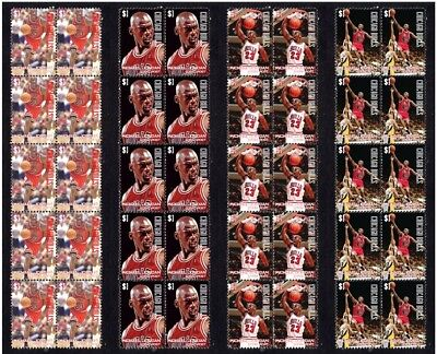 Michael Jordan Chicago Bulls Set Of 4 Mint Vignette Stamp Strips