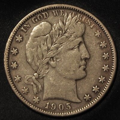 1905-S Barber Silver Half Dollar -- Strong VF to XF Condition