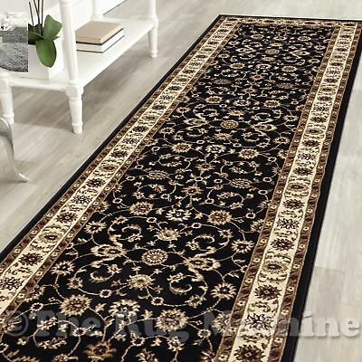 ELENA BLACK CREAM CLASSIC ALLOVER TRADITIONAL FLOOR RUG RUNNER 80x300cm **NEW**