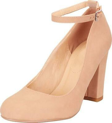 6a68d151b0c Cambridge Select Women s Round Toe Buckled Ankle Strap Chunky Block Heel  Pump