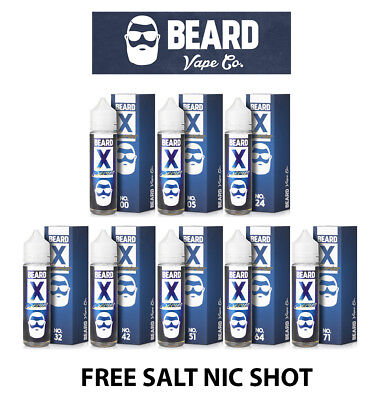 Beard X Series 50ml Vape Eliquid Shortfills 0mg 3mg with FREE Salt Nic Shot