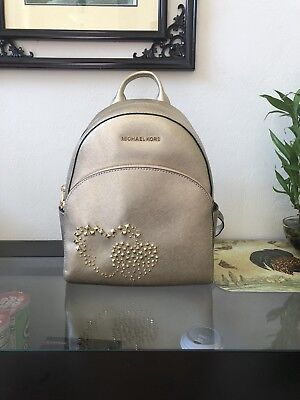 ea91589b8218 MICHAEL KORS ABBEY MEDIUM BACKPACK HEART STUDDED SAFFIANO LEATHER Pale Gold