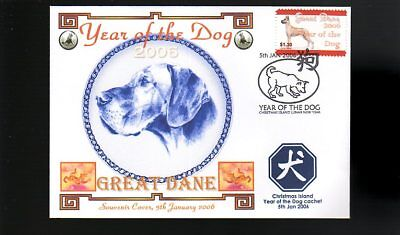 Year Of The Dog Stamp Illustrated Souvenir Cover, Great Dane 3