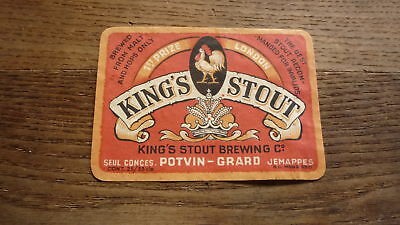 OLD 1950s BELGIUM BEER LABEL, BRASSERIE POTVIN GRAND JEMAPPES, KINGS STOUT