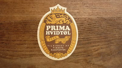 OLD 1950s DENMARK BEER LABEL, FAXE BRYGGERIES, PRIMA HVIDTOL SMALL