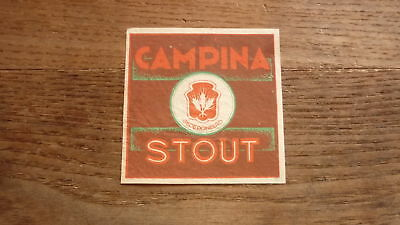 OLD 1950s BELGIUM BEER LABEL, CAMPINA BROUWERJI ANTWERP, STOUT