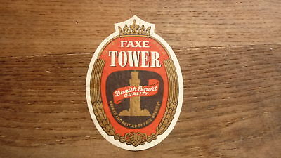 OLD 1950s DENMARK BEER LABEL, FAXE BRYGGERIES, TOWER EXPORT SMALL