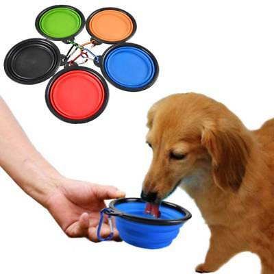Pet Cat Dog Travel Silicone Folding Plate Bowl Feeder Collapsible Water Dish