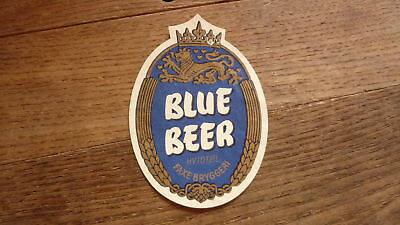 OLD 1950s DENMARK BEER LABEL, FAXE BRYGGERIES, BLUE BEER