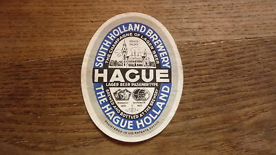 OLD 1950s NETHERLANDS BEER LABEL, SOUTH HOLLAND BREWERY THE HAGUE LAGER 1