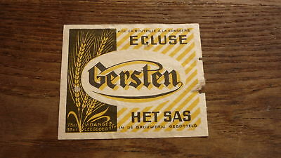 OLD 1950s BELGIUM BEER LABEL, BRASSERIE ECLUSE BOORTMEERBEEK, GERSTEN