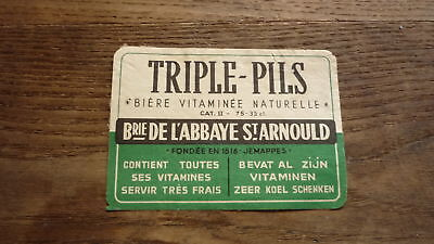 OLD 1950s BELGIUM BEER LABEL, BRASSERIE POTVIN GRAND JEMAPPES, TRIPLE PILS