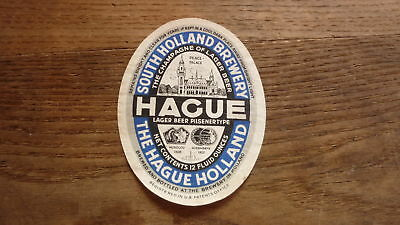 OLD 1950s NETHERLANDS BEER LABEL, SOUTH HOLLAND BREWERY THE HAGUE LAGER 2