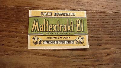 OLD 1950s DENMARK BEER LABEL, FAXE BRYGGERIES, MALTEXTRAKT