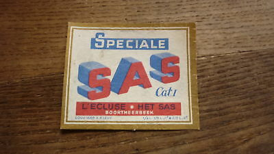 OLD 1950s BELGIUM BEER LABEL, BRASSERIE ECLUSE BOORTMEERBEEK, SAS