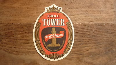 OLD 1950s DENMARK BEER LABEL, FAXE BRYGGERIES, TOWER EXPORT LARGE