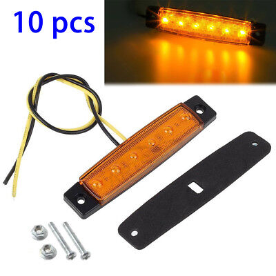 10 PCS  Amber 6LED Side Marker Light Truck Trailer Bus Universal Easy Install