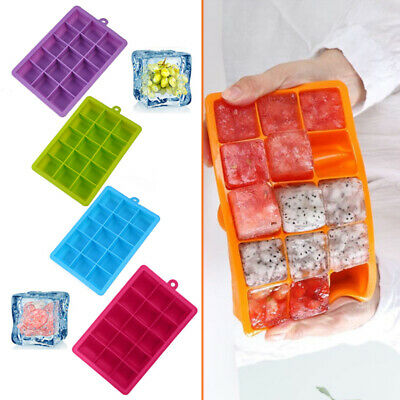 Silicone 15 Grids Square Ice Cube Tray Mould Maker Mold DIY Kitchen Bar Freeze