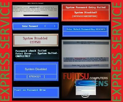 Hp Acer Asus Gateway Samsung Fujitsu Sony Bios Password Unlock Reset Service