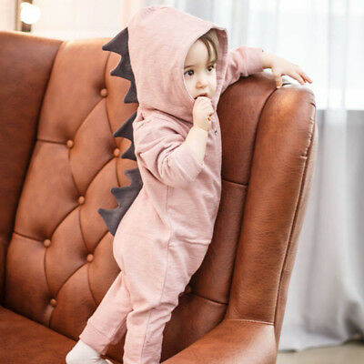 Newborn Infant Baby Boy Girl Dinosaur Hooded Romper Jumpsuit Kids Clothes Outfit