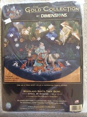 Dimensions gold collection Woodland Santa Tree Skirt Counted Cross stitch kit