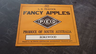 Old South Australian Fruit Crate Label, Peacock Fancy Apples, Rokewood