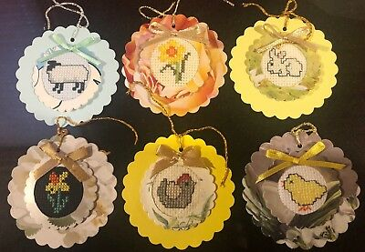 6 hand crafted Easter stitched completed gift tags. Card topper.