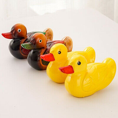 1 Pair Duck Ornaments Hand-carved Mini Wooden Duck Figurines Hone Decor