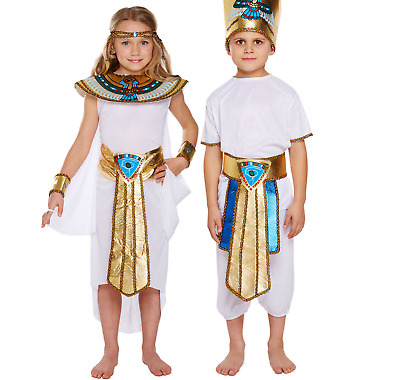 Girl Boys Egyptian Queen King School Day Book Week Historic Fancy Dress Costumes
