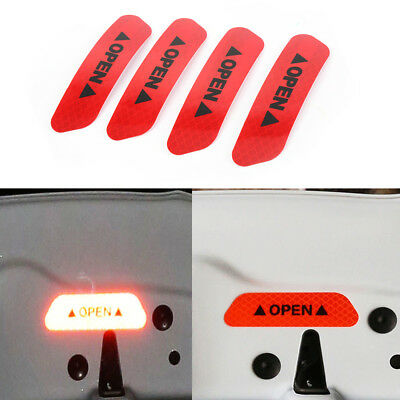 4PCS Super Car Door Open Sticker Reflective Tape Safety Warning Decal Red Hot