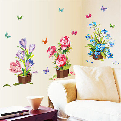Beautiful Hand-painted Potted Wall Sticker Flower Vinyl Stickers  Home Decor RA